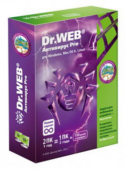 Dr.Web для Windows 2ПК 1г/1ПК 2г+150д коробка